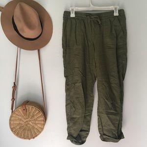 green flowy pants